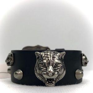 Gucci Jewelry - Gucci Feline Cat Studded Black Leather Bracelet